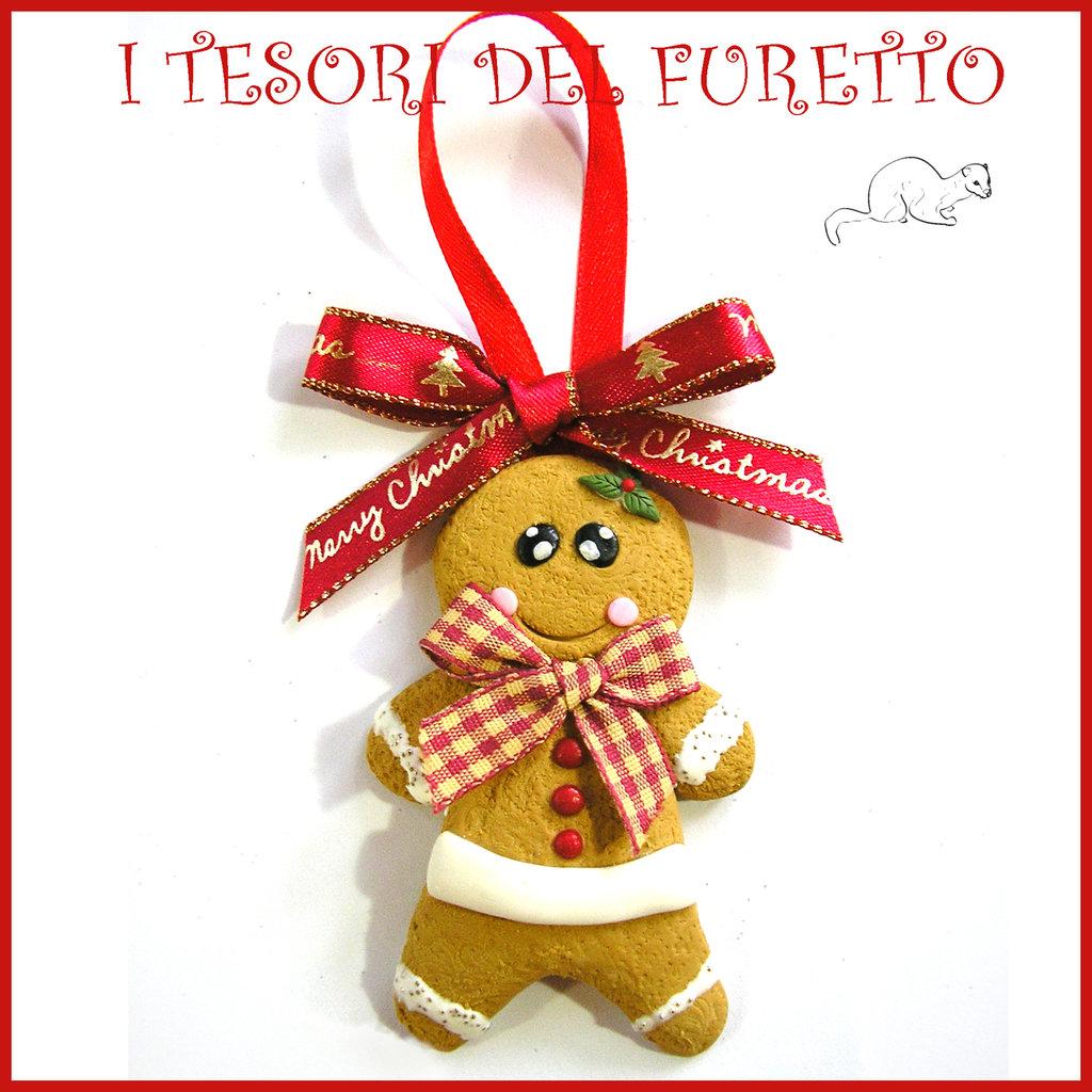 """Addobbo decorazione per albero di Natale """" Gingerbread """"  pandizenEro fimo cernit Kawaii regalo"""