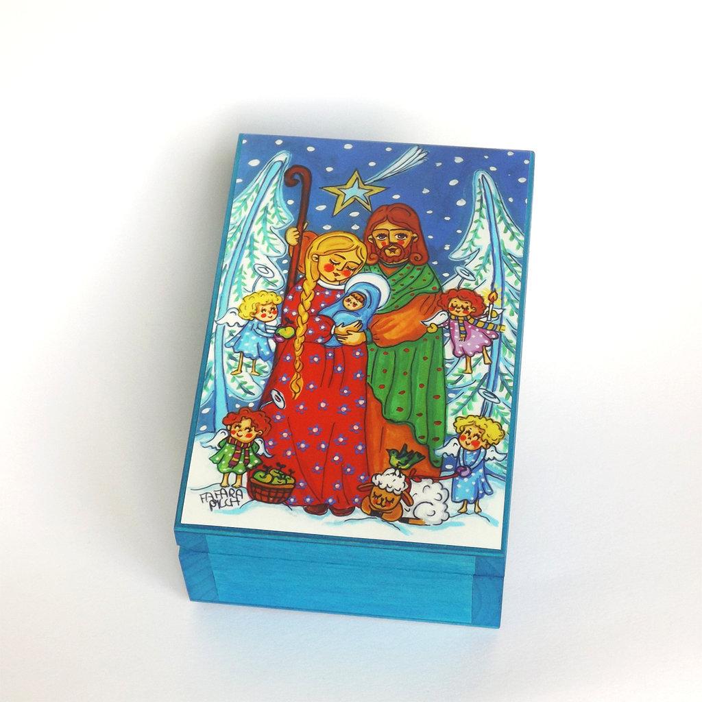 Decorazione di Natale Sacra Famiglia Addobbi di Natale Regalo di Natale Scatola Legno Feste natalizie