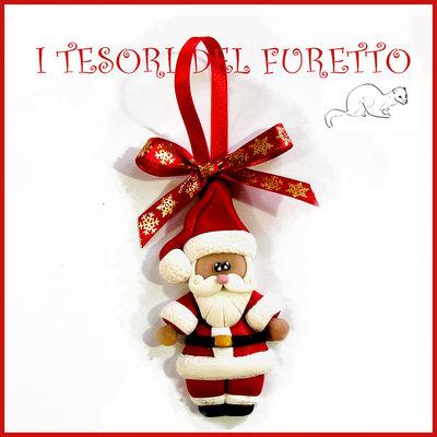 """Addobbo decorazione per albero di Natale """" Babbo Natale """" Fimo cernit Kawaii regalo"""