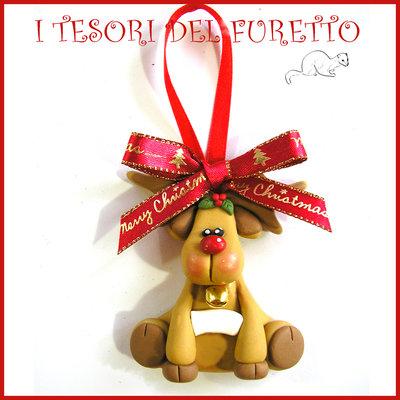 """Addobbo decorazione per albero di Natale """" Renna """" Fimo cernit Kawaii regalo"""
