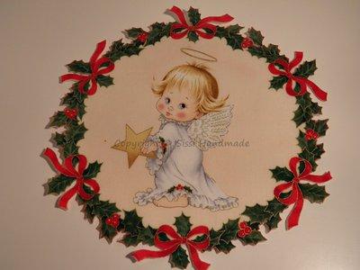 Ghirlanda di Natale stampata con piccolo angelo n. 428