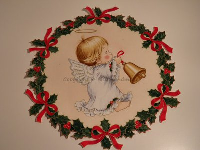 Ghirlanda di Natale stampata con piccolo angelo n. 430