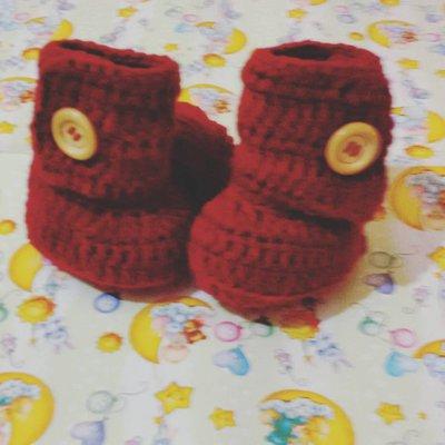 Stivaletti scarpette scarpine tipo Ugg neonato bebè bordeaux