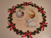 Ghirlanda di Natale stampata con piccolo angelo n. 431