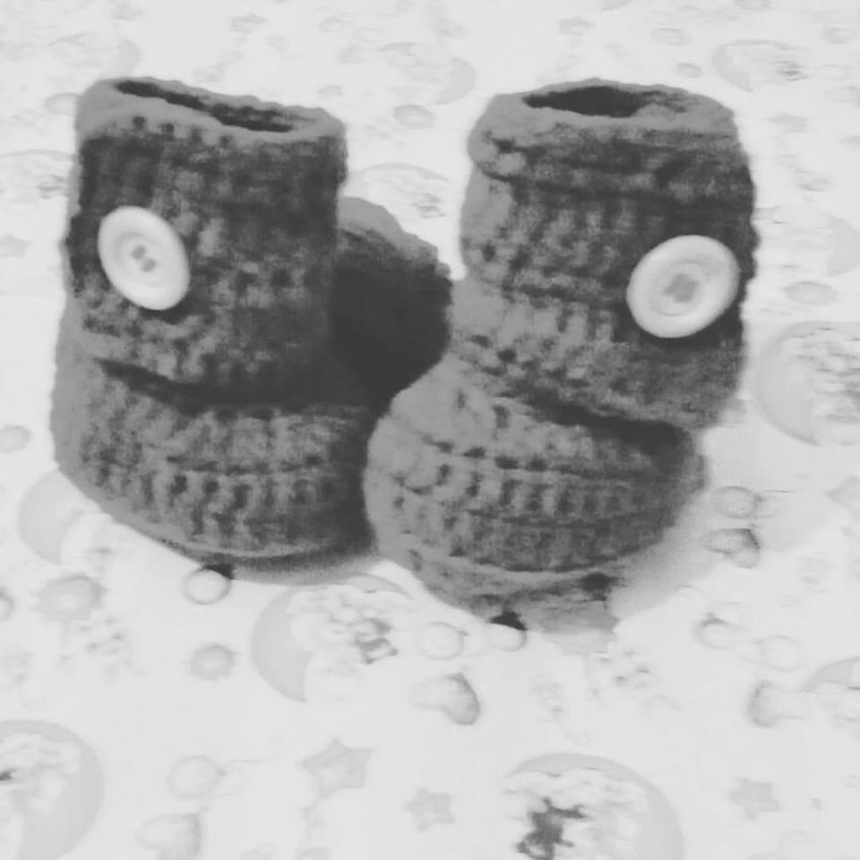 Stivaletti scarpette scarpine tipo Ugg neonato bebè grigio