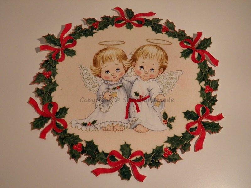 Ghirlanda di Natale stampata con piccolo angelo n. 433