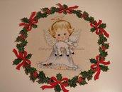 Ghirlanda di Natale stampata con piccolo angelo n. 435