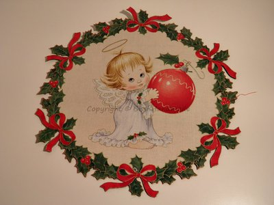 Ghirlanda di Natale stampata con piccolo angelo n. 436