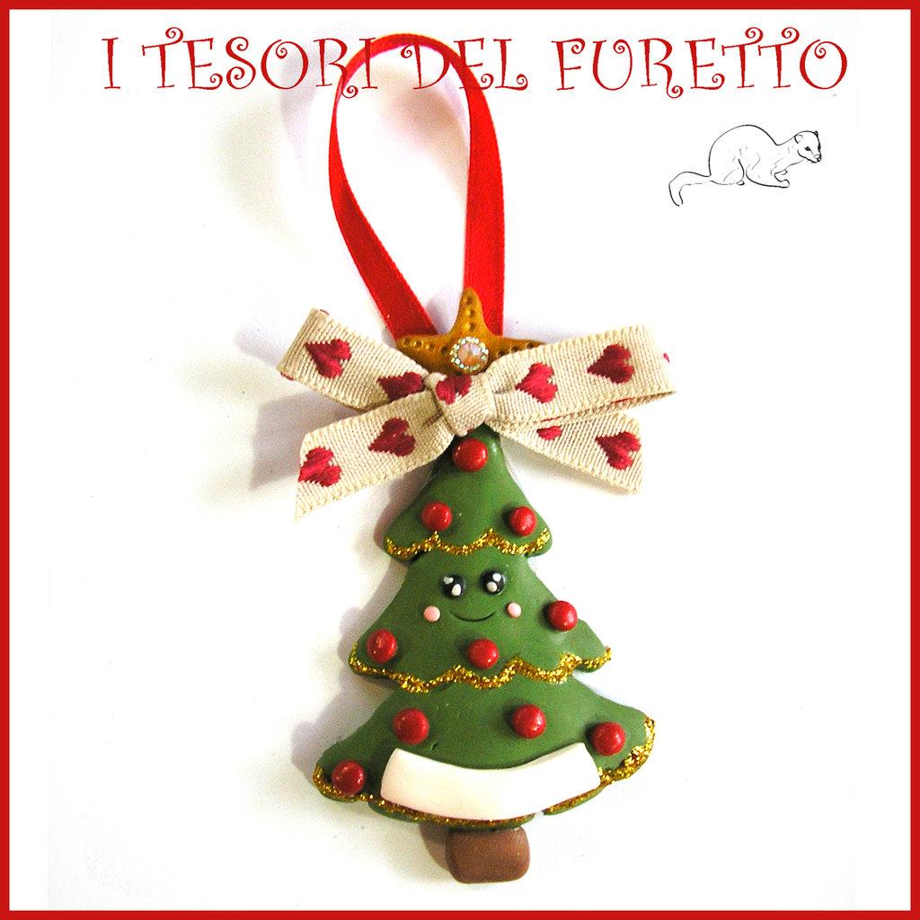 """Addobbo decorazione per albero di Natale """" Pino Kawaii """" segnaposto idea regalo Fimo cernit da appendere"""