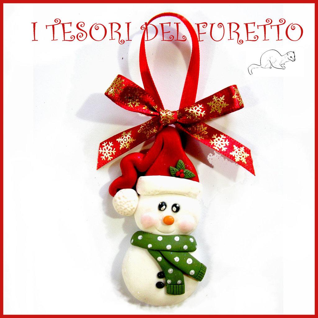 """Addobbo decorazione per albero di Natale """" Pupazzo neve Kawaii """" segnaposto idea regalo Fimo cernit da appendere"""