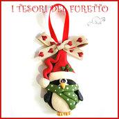 """Addobbo decorazione per albero di Natale """" Pinguino Kawaii  """" segnaposto idea regalo Fimo cernit da appendere"""