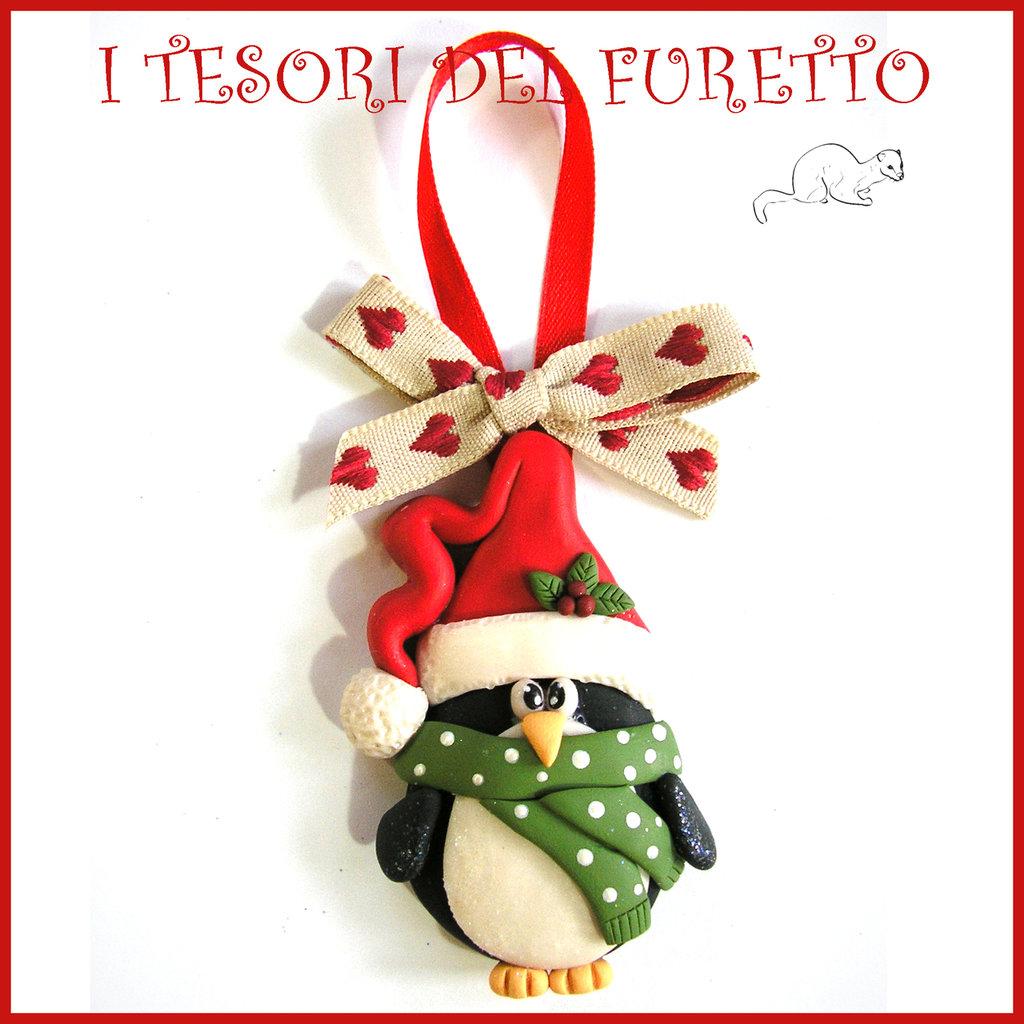 Immagini Natalizie Kawaii.Addobbo Decorazione Per Albero Di Natale Pinguino Kawaii Segna