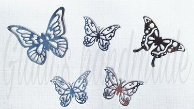 Set 10 Farfalle argentate per decorazioni natalizie