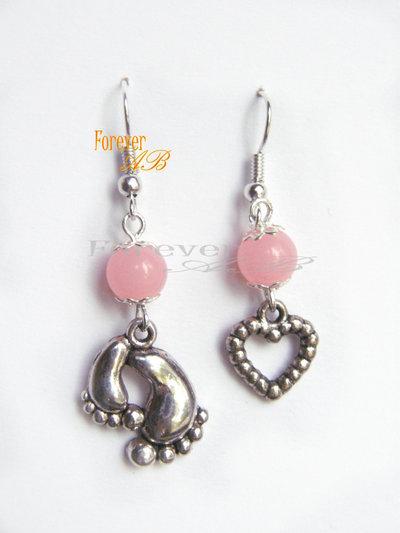Orecchini Piedini e cuore con perle rosa idea regalo ragazza donna Natale