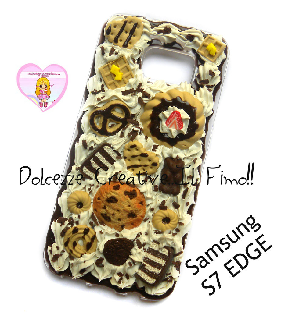 Cover Samsung S7 EDGE - panna cioccolato biscotti waffle cookie torta miniature kawaii idea regalo