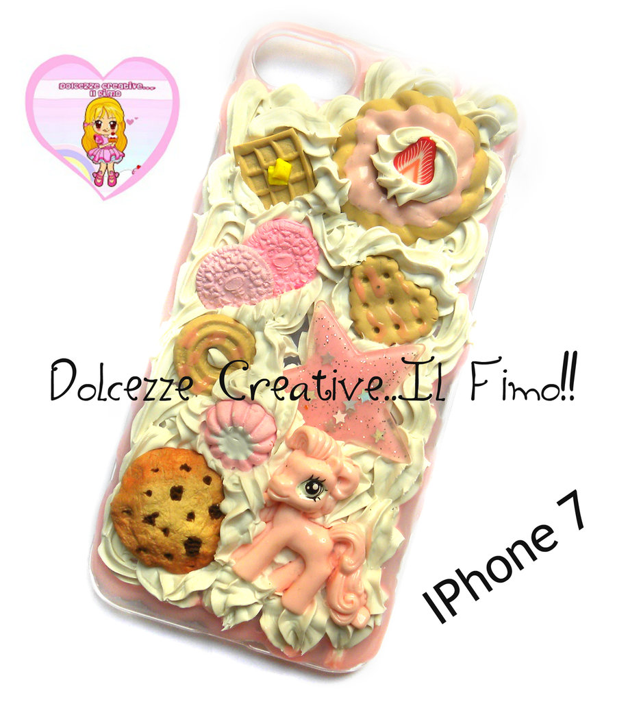 Cover Iphone 7 - panna cioccolato biscotti pastel goth cookie torta waffle cute pony