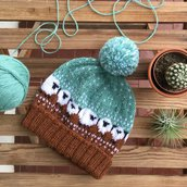 Baablehat, simpatico cappellino unisex, in lana, lavorato ai ferri, senza cuciture