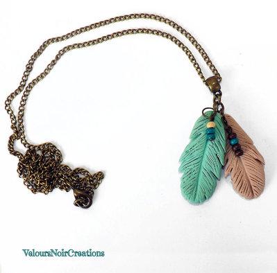 Collana bronzo piume nativi americani