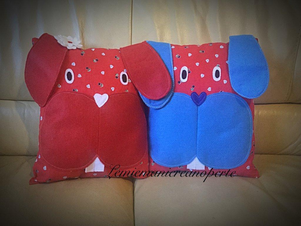 Cuscini cagnolini Pippo e Peppa coppia idea regalo Natale