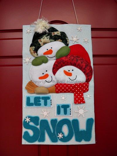 Pannello di Natale, fuoriporta con pupazzi di neve