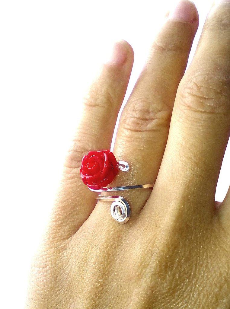 Anello regolabile Rosa Rossa - Roses