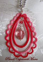 Ciondolo rosso al chiacchierino, cristallo rosa corallo