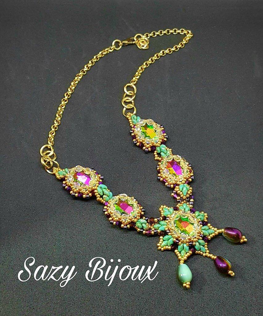 CARNIVAL: Collana in tessiture di perline con Cristalli Multicolore