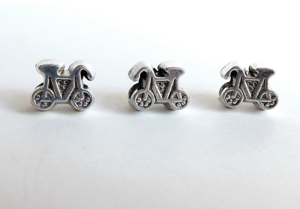 3 Perle a foro largo argento tibetano PFL236T