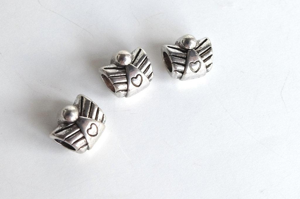 3 Perle a foro largo argento tibetano PFL237T