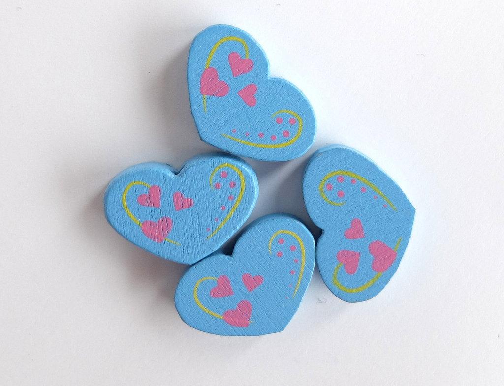 4 Perle di legno cuore PRL350