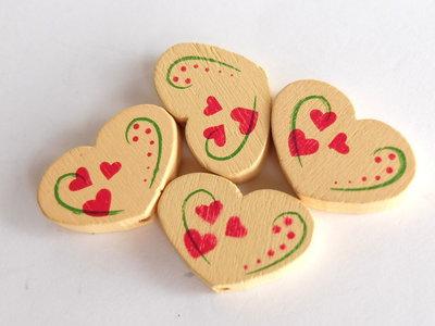 4 Perle di legno cuore PRL351