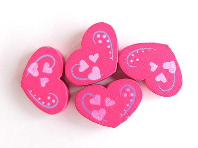 4 Perle di legno cuore PRL352