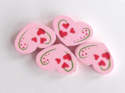 4 Perle di legno cuore PRL353