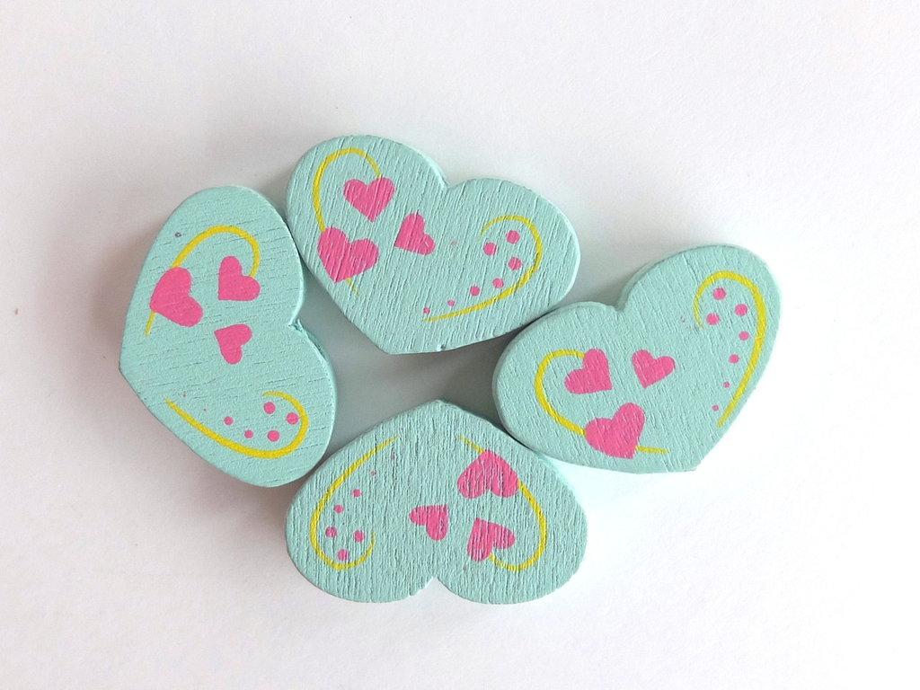 4 Perle di legno cuore PRL354