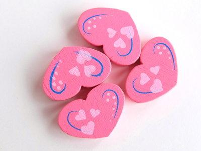 4 Perle di legno cuore PRL355