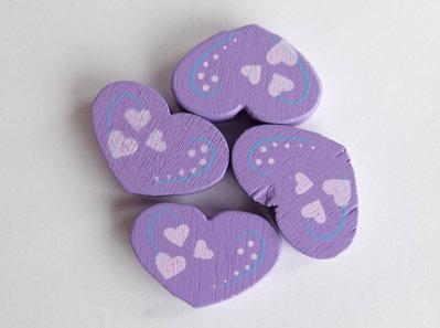4 Perle di legno cuore PRL356