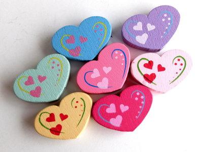 10 Perle di legno cuore mix PRL357