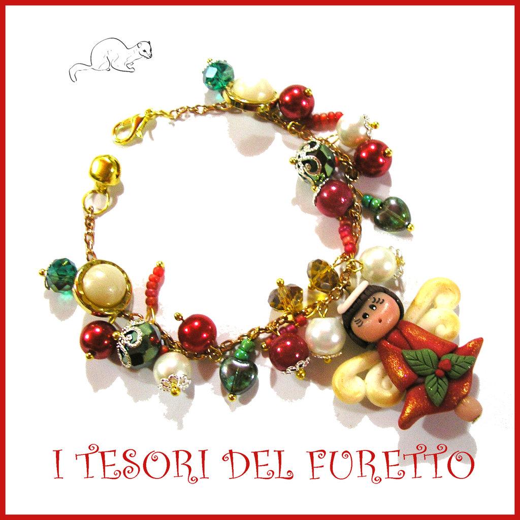 """Bracciale Natale 2016  """" Fufuangel rosso oro """" cernit Kawaii idea regalo perle angioletto bambina ragazza donna"""