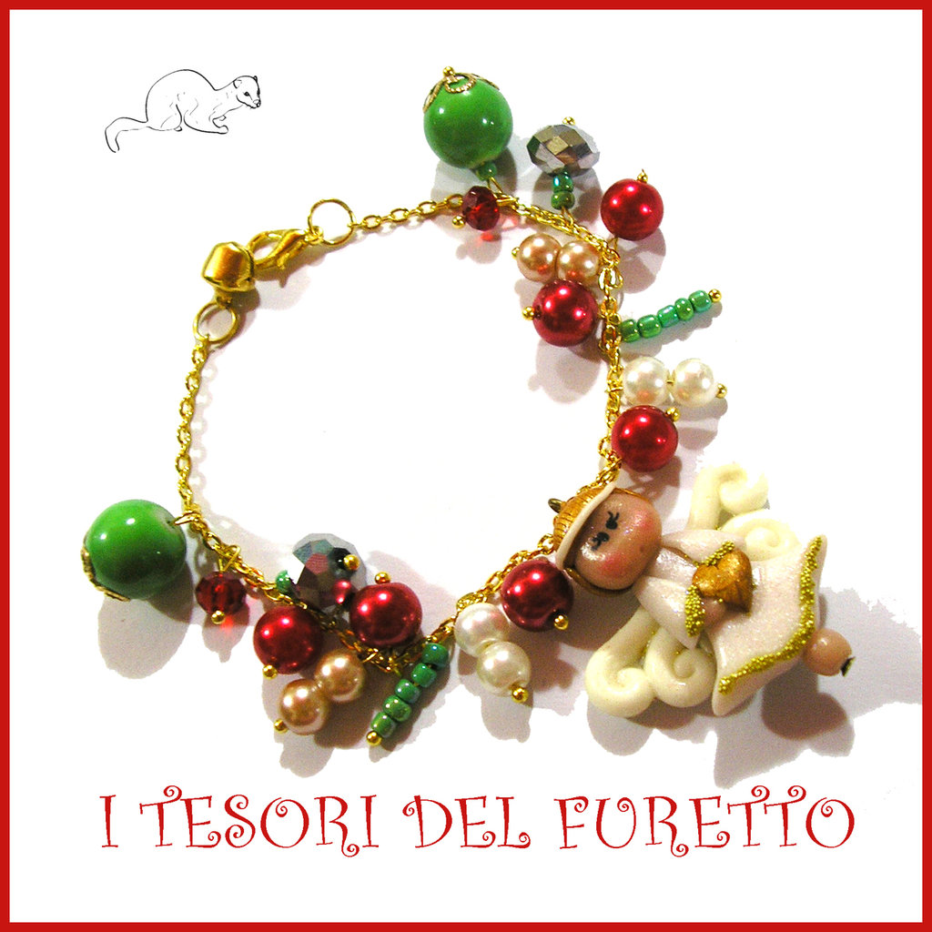 "Bracciale Natale "" Fufuangel bianco oro "" 2016 Fimo cernit la idea regalo bijoux Natalizi perle"
