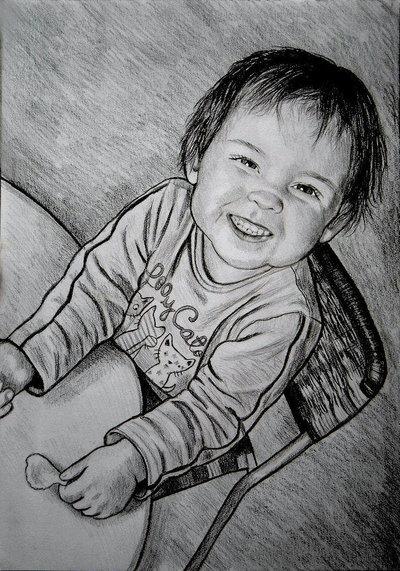 Ritratto su commissione da foto matita su cartoncino 33x48 cm