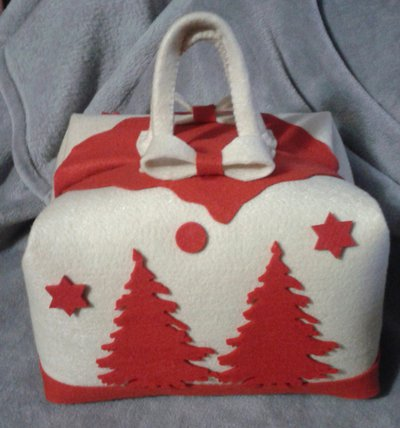 Porta-panettone, porta-dolci natalizio panna-rosso