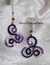Orecchini viola al chiacchierino, perline argentate, cristallo violetto