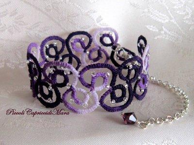 Bracciale viola al chiacchierino, perline argentate, cristallo violetto