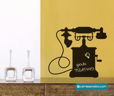 Lavagna adesiva telefono antico - adesivo murale promemoria numeri telefonici - lavagna da parete appunti