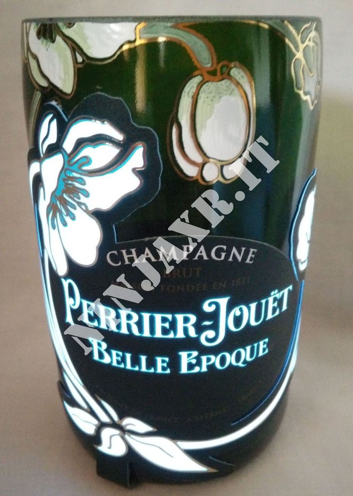 Vaso da Bottiglia di Champagne Belle Epoque Luminous Perrier Jouet idea regalo arredo design fatto a mano handmade