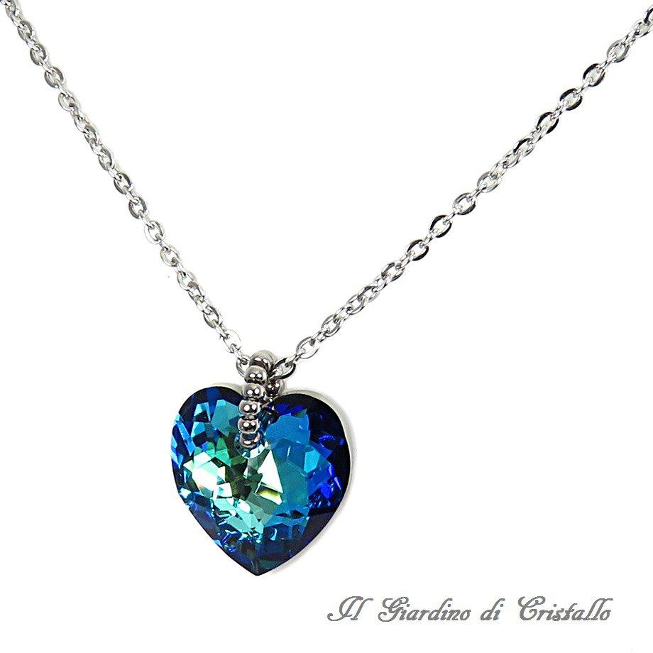 enorme sconto d6881 5198a Collana con cuore di cristallo Swarovski blu Bermuda in acciaio fatta a  mano - Begonia