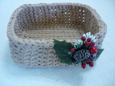 Grande cestino rettangolare milleusi realizzato a mano con grazioso decoro natalizio