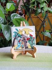 Mattonella in ceramica.Regalo Natale.Le ceramiche di Ketty Messina