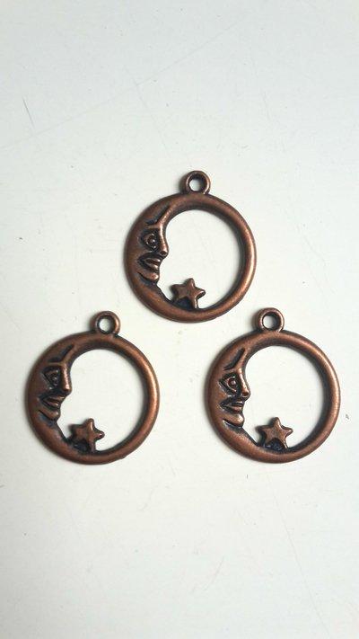 6 charms cerchio e luna bronzo 21x18mm