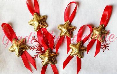 Set 6 stelline dorate in gesso addobbi di Natale